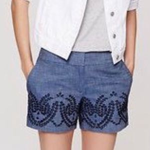 LOFT Embroidered Denim Short NWT